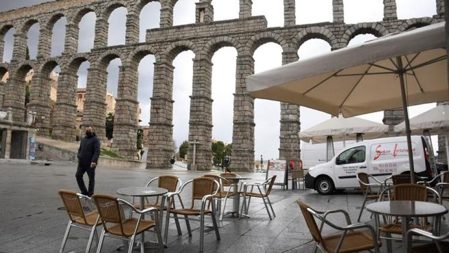 Una terraza abierta en Segovia tras las restricciones por la Covid, el 27 de noviembre de 2020.