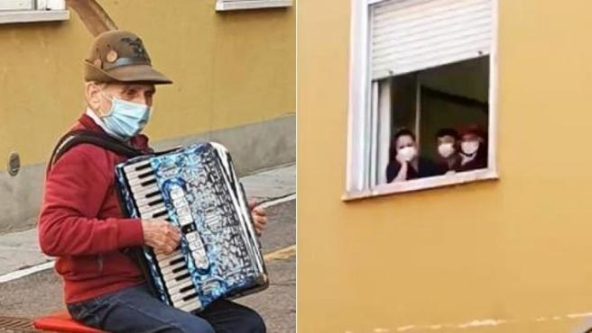 Stefano Bozzini tocándole el acordeón a su esposa, Carla Sacchi, que se encontraba en la ventana.