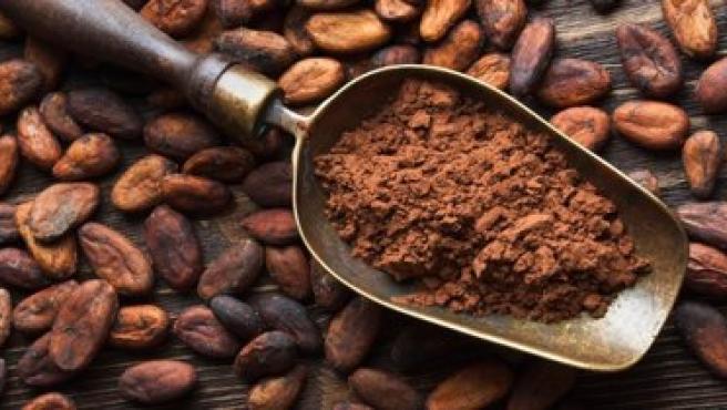 Imagen de archivo de granos de cacao.