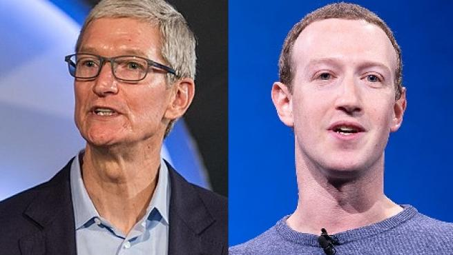 Tim Cook y Mark Zuckerberg, CEOs de Apple y Facebook, respectivamente.