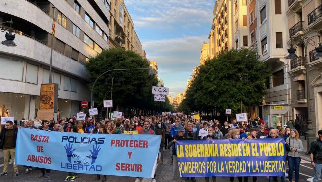 Manifestación convocada por la asociación Policías por la Libertad