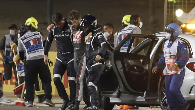 Grosjean accident in Bahrain