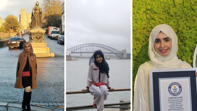 La emiratí Khawla AlRomaithi durante su viaje y tras recibir el récord Guiness.