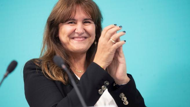 La diputada de JxCat Laura Borràs, tras ser elegida como candidata a la presidencia de la Generalitat en las elecciones del 14 de febrero por Junts per Catalunya.