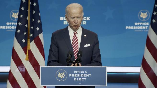 """In this image from the Biden Presidential Transition video feed, United States President-elect Joe Biden delivers remarks """"on the economic recovery and building back better"""" in the long term in Wilmington, Delaware on Monday, November 1"""