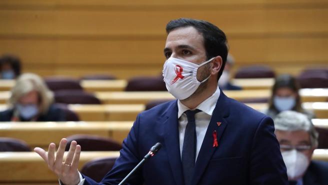 El ministro de Consumo Alberto Garzón, durante la sesión de control en el Pleno del Senado