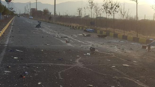 Escena en la que Mohsen Fakhrizadeh fue asesinado en Absard, una pequeña ciudad al este de la capital, Teherán.