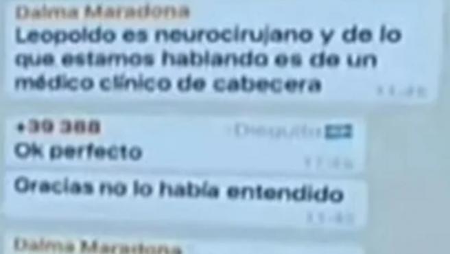 El chat de Whatsapp de la familia de Maradona con los médicos.