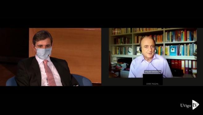 El exministro Miguel Sebastián durante el coloquio virtual