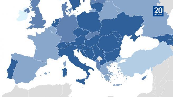 Mapa de Europa por incidencia acumulada en los últimos 14 días.