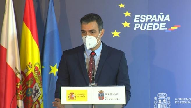 El presidente del Gobierno, Pedro Sánchez, presenta el el Plan de Recuperación, Transformación y Resiliencia de la Economía Española, en Comillas (Cantabria), a 4 de diciembre de 2020.