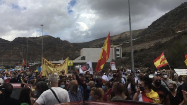 Manifestación Salvemos el turismo a la que ha asistido Santiago Abascal