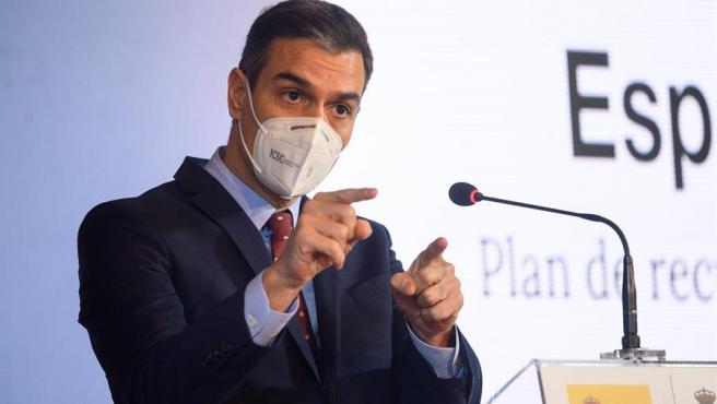 El presidente del Gobierno, Pedro Sánchez presenta el Plan de Recuperación de la Economía Española en Comillas, Santander este viernes.