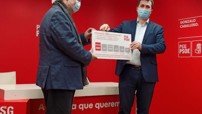 El diputado del PSdeG en el Congreso Guillermo Meijón y el secretario xeral del PSdeG, Gonzalo Caballero, en la rueda de prensa con un gráfico sobre los PGE