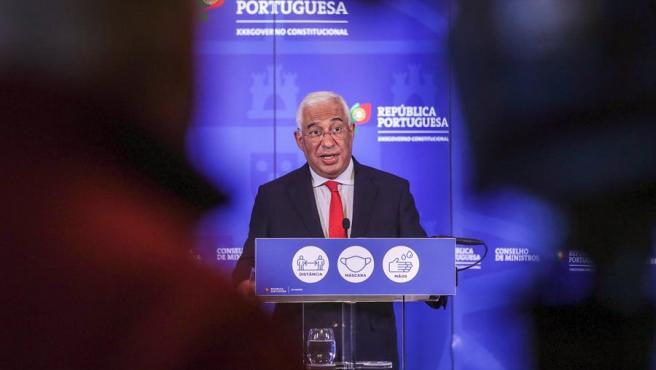 El presidente de Portugal, Antonio Costa, en una rueda de prensa este sábado.