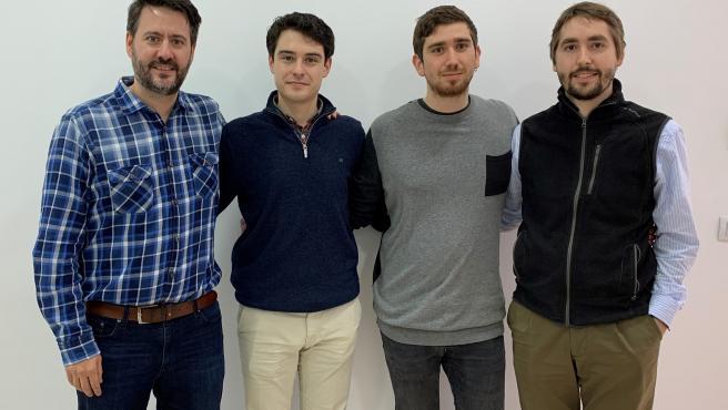 Eduardo Navarro; Mario Miravete, Jorge Morte y Mateo Cámara, creadores de Pikckgeo.