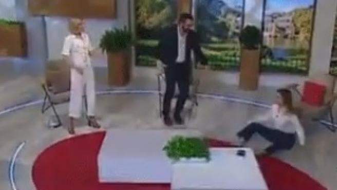 Elena Miñambres tras la caída.