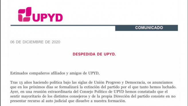 Encabezado del comunicado de disolución de UPyD.
