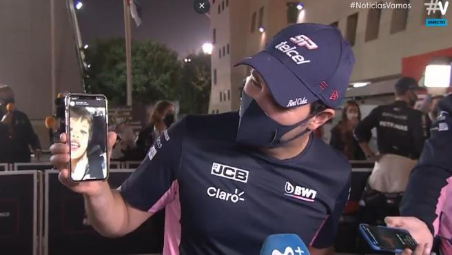 Checo Pérez y su hijo, Checo Jr., tras el GP de Sakhir