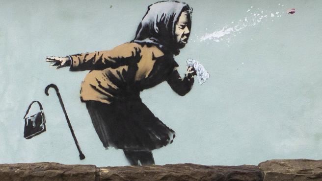 'Aachoo!!', la nueva obra de Banksy sobre la pandemia situada en Bristol (Reino Unido).