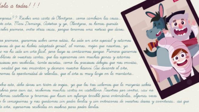 Parte de la carta del Papá Noel vasco.