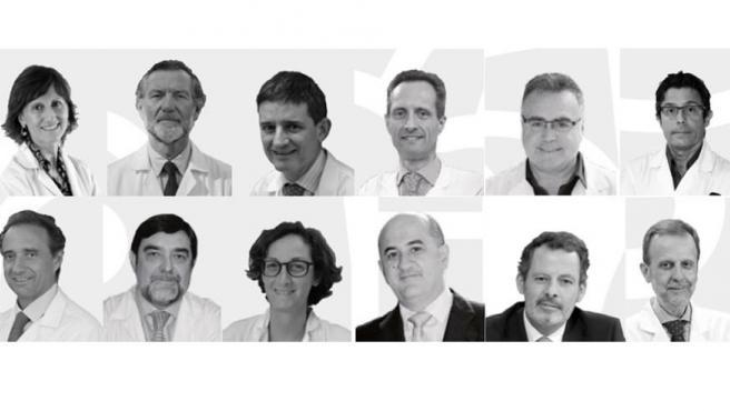 De izquierda a derecha: Dra. Llamas, Dr. Arroyo, Dr. Echave-Sustaeta, Dr. García-Foncillas, Dr. Vieta, Dr. Álvarez-Linera, Dr. Arroyo, Dr. Argente, Dra. Martín, Dr. De la Calle, Dr. Cabrera y Dr. Gamboa