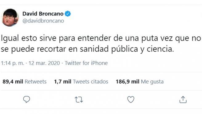 El tuit de David Broncano con más retuits en España en 2020.