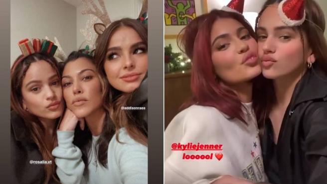 La cantante Rosalía, junto a Kourtney Kardashian y Kylie Jenner.