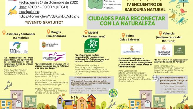 Cartel del encuentro 'Ciudades para reconectar con la naturaleza'.