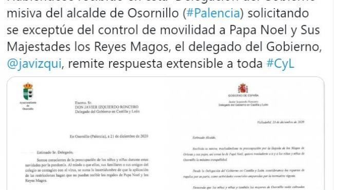 Mensaje de la Delegación del Gobierno en Castilla y León sobre la movilidad de Papá Noel y los Reyes Magos.
