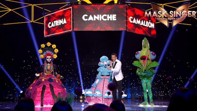 Catrina, Perrita, Arturo Valls y Camaleón, en 'Mask Singer'.