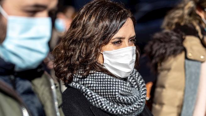 La presidenta de la Comunidad de Madrid, Isabel Díaz Ayuso, durante su visita este sábado a Toledo.