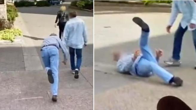 La caída de un hombre capturada por un coche de Google.