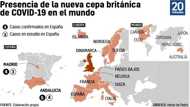 Países que han detectado hasta el momento la cepa británica del coronavirus.