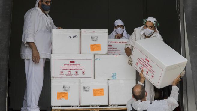 Los médicos descargan, en un almacén de Argentina, las cajas del primer envío de la vacuna rusa contra la Covid-19, Sputnik V.