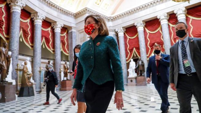 La presidenta de la Cámara de Representantes de EE UU, la demócrata Nancy Pelosi, en el Capitolio, en Washington DC.