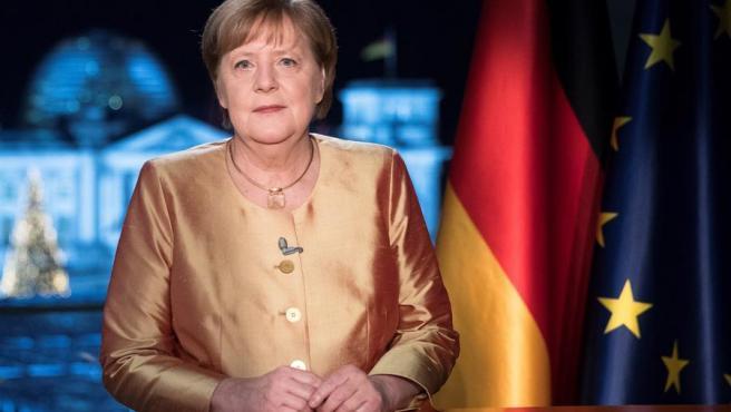 La canciller alemana, Angela Merkel, durante la grabación de su discurso de Año Nuevo.