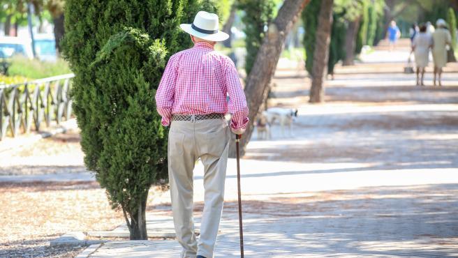 Imagen de archivo de una persona paseando por un parque