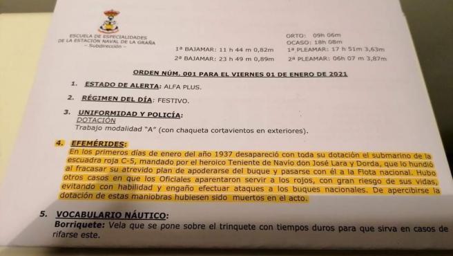 Orden del día 1 de enero de 2020 de la Escuela Naval de la Armada en Ferrol, que lleva en sus 'efemérides' el hundimiento de un submarino de la 'escuadra roja'.