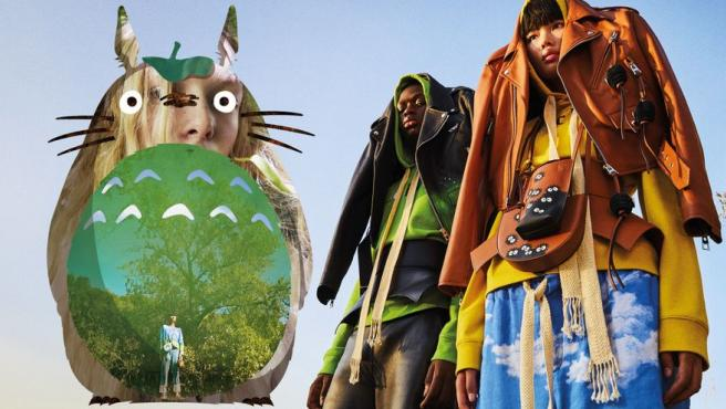 """Loewe reproduce la iconógrafía de """"Mi vecino Totoro"""" en una nueva colección."""