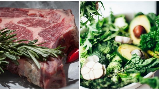 Imagen de archivo de carne y vegetales.