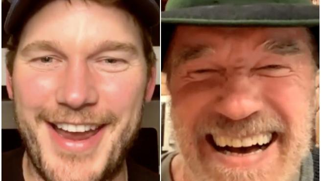 Chris Pratt haciendo una videollamada con su suegro, Arnold Schwarzenegger