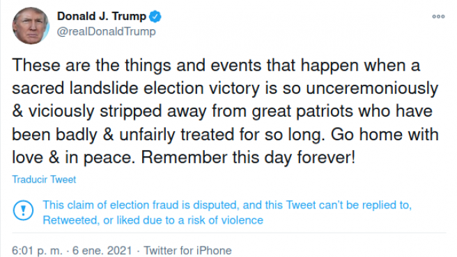 Tuit de Donald Trump, eliminado por Twitter.