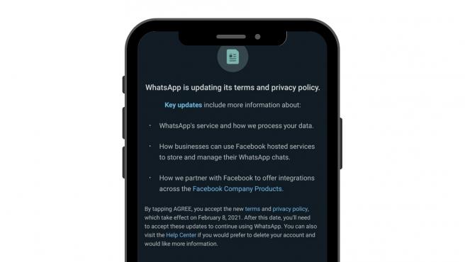 Captura de pantalla del texto con la nueva actualización de uso de WhatsApp.