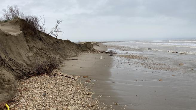 Desperfectos causados por la borrasca 'Gloria' en el Delta del Ebro en 2020.