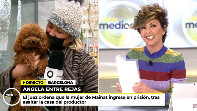 Mayka Navarro con su perro Simón durante la conexión con Sonsoles Ónega en el plató de 'Ya es mediodía'.