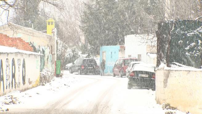 La nevada en la Cañada Real este viernes.