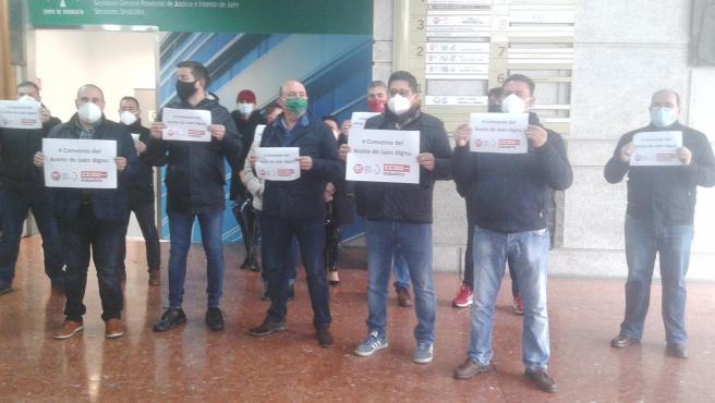 Imagen de archivo del inicio de las movilizaciones para exigir el desbloqueo del convenio provincial del aceite.