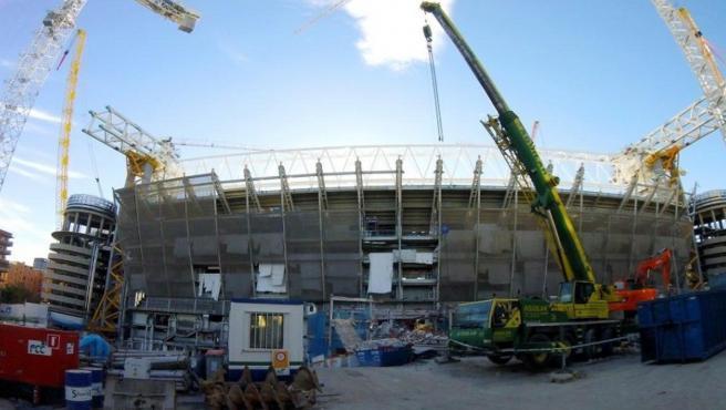Obras de remodelación del estadio Santiago Bernabeu.