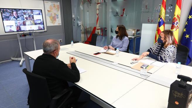 Reunión del Centro de Coordinación Operativa Integrada (CECOPI) de Aragón .